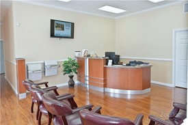 view of the reception desk and waiting area