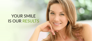 middle-aged woman smiling with text that says your smile is our results
